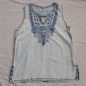 Lucky Brand embroidered bleach boho tank top L